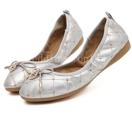 Wholesale Shoes For Pregnant - Fashion Gold Silver Fashion Women's Foldable Ballet Flats Round Toe Bowtie Comfortable Shoes For Pregnant Women Genuine Leather