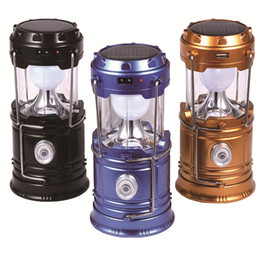 Wholesale Outdoor Camping Lantern - Solar lamps new Style Portable Outdoor LED Camping Lantern Solar lights Collapsible Light Outdoor Camping Hiking Super Bright led Light
