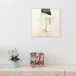 Wholesale Modern Painting Naked Girl - Modern Watercolor Sexy Girl Naked Japanese Tattoo Art Print Poster Fish Wall Picture Big Bar Home Decor Canvas Painting No Frame