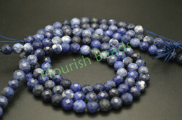 Wholesale 6mm Faceted - 6MM 8MM 10MM Natural Sodalite Faceted Stone Round Loose Beads Fit Fashion Woman Bracelet Necklace Jewelry Making