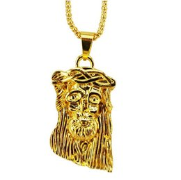 Wholesale Wholesale Jesus Pieces - Hot gold filled jesus piece pendant necklace for men women hip hop jewelry gold chunky chain long necklace