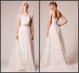 Wholesale Sheer Beach Covers - Romantic Beach Wedding Dresses Sheer Neck Straps Covered Button Beaded A-line Sweep Train Vestido De Novia Bride Bridal Gowns Wear SHJ