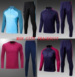 Wholesale Red Short Sweater - 2017 2018 Manch City Soccer Tracksuit Adult's Thai Quality Football Training Suit DE BRUYNE AGUERO Soccer Sweater Pants Men Winter Chandal