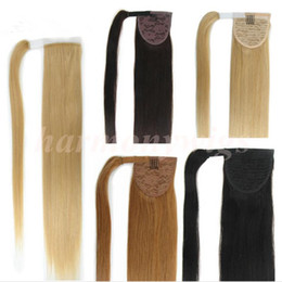 Wholesale Double Drawn Extensions - Top quality 100% Human hair Ponytail 20 22inch 100g double Drawn Remy Straight Brazilian Indian hair extensions more colors