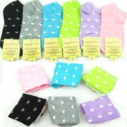 Wholesale Thin Korean Girls - Wholesale-New 2015 Korean women ship socks sweet heart boat socks for girls Thin Ankle Invisible Socks For Girl free Shipping