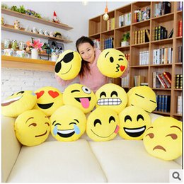 Wholesale Wholesale Handmade Dolls - 300pcs CCA2454 12 Styles Soft Emoji Smiley Emotion Cushion Pillow Stuffed Plush Toy Doll Christmas Present Cartoon Facial Creative Pillows