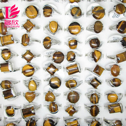 Wholesale Tiger Rings Women - Multi-style Mix Style Lots 30Pcs Stone Rings For Women 2015 New Assorted Natural Tiger Eye Gemstone Platinum Rings Jewelry