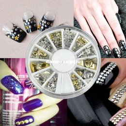 Wholesale Rhinestone Decoration Cell Phone - Wholesale-Cheapest!!!2014 New Fashion 3D Metal Nail Art Decoration Rhinestones Wheel Alloy Nail Studs Cell Phone Accessories b014 10912