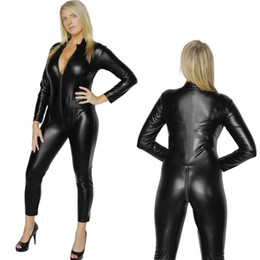 Wholesale Sexy Pvc Adult Costume - 2017 Women's Sexy Vinyl PVC Black Cat Suit Catsuit Ladies Zipper Stretchy Jumpsuit Clubwear Sexy Adult Halloween Fancy Costume
