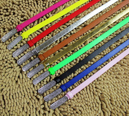 Wholesale Thin Belts For Dresses - New desinger diamond buckle dress beltS for women fluorescent color thin waist belt ladys eather belt 11 colors