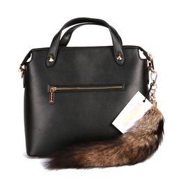 Wholesale Trendy Stylish Bag - Ursfur Stylish Savanna Fox Tail Fox Fur Tail Bag Hanging Keychain Keyring Fox Fur Tail Keychain Bag Hanging Tag Charm Handbag Accessory