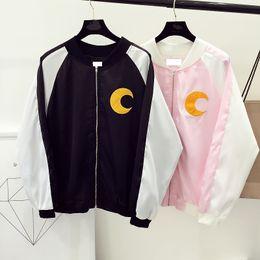 giacche bombe carino Sconti All'ingrosso- 2016 harajuku giapponese kawaii stile carino fumetto marinaio luna ricamo sciolto bomber rosa donne giacca allentata