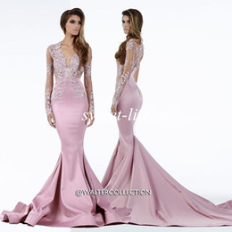 Wholesale Usa Vintage - 2016 Miss USA Pageant Dresses Mermaid Sheer Deep V Neck Lace Sweep Train Satin Plus Size Long Sleeves Evening Dresses Celebrity Prom Gowns