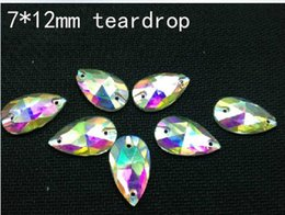 Wholesale Stone Color Dresses - 144Pcs Sew On Crystal Beads 7*12mm AB Color Teardrop Sew on Rhinestones Drop For Dress Stones 2 hole