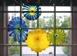 Wholesale Art Deco Shapes - Elegant Art Decor Luxury Hand Blown Glass Hanging Plates Wall Arts Irregular Wave Shape Chihuly Style Murano Flower Glass Plates Wall Arts