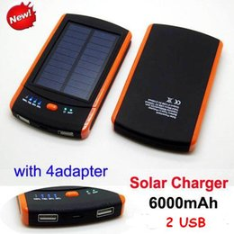 Wholesale Battery Iphone Mah - Portable s6000 6000mah solar charger Waterproof Dual USB Port 6000 mah power bank s6000mah Solar Battery For Samsung ipad iphone 5s 6 plus