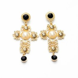 Wholesale Gem Cross - Earrings female Europe and the United States fashion style accessories exaggerated atmosphere gem mosaic crosses nightclub earrings