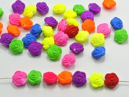 Wholesale Plastic Mixed Rose Beads - 100 Mixed Fluorescent Neon Beads Acrylic Rose Flower Beads Charms 12mm Rubber Tone