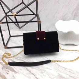Wholesale Velvet Bags Multi Color - luxury 2018 new fashion cahier velvet bags handbag women famous brand genuine leather metal shoulder bag highest quality women clucth bag