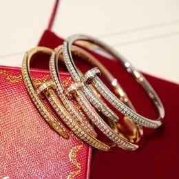 Wholesale Titanium Fishing Hooks - Titanium Steel full zircons Love Bracelets silver rose gold plated nail Bangles women men diamond cuff bracelet