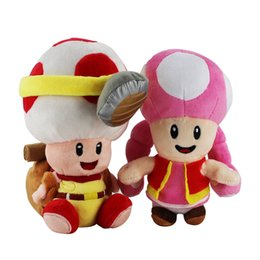 Wholesale Mario Plush Toadette - 2pcs set Standing Super Mario Bros Captain Mushroom Toad Plush toys New Pink Mushroon toadette Doll Gift with Sucker