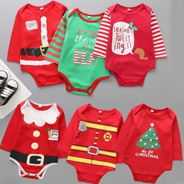 Wholesale santa baby romper - New Christmas romper cartoon baby Xmas Jumpsuits kids Santa Claus printing Climbing clothes B11