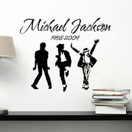 Wholesale Michael Jackson Wall Art - 2017 New Removable Vinyl Wall Stickers Michael Jackson MJ Music Dancing Art Wall Stickers Home Decor Room Decal With Tracking