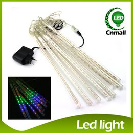 Wholesale Lighted Rain Showers - 20CM 30CM 50CM Meteor Shower Rain Tubes LED Mini Meteor Lights LED Strings Light 8pcs LED Light Christmas Light Wedding Garden Decoration