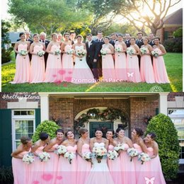 Wholesale Aline Chiffon Bridesmaid Dress - Cheap Custom Made NewPink Bridesmaid Long Chiffon Dresses 2015 Sweetheart Aline Backless Empire Waist Long Formal Prom Evening Party Dresses