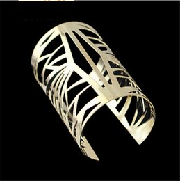 Wholesale China Traditional Girl - 2015 Fashion Jewery Mordern Gold Tone Golden Metal Alloy Hollow Out Wide Bangle Cuff Bracelet Gift Women Girl Punk