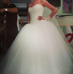 Wholesale Sheer Sexy Shiny Sweetheart - 2015 Classical Ball Gown Wedding Dresses Sexy Backless Sweetheart Shiny Sequins Elegant White Sweep Train Bridal Gowns Plus Size new design