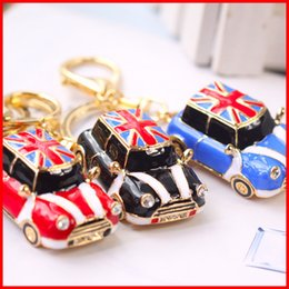 Wholesale Union Jack Keychain - Union Jack mini cooper Carabiner keychain gold bubble car women bag backbag pendants key rings fashion jewelry 170335