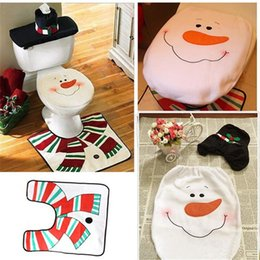 Wholesale White Bathroom Rug Set - Wholesale- 3pcs lot Christmas Snowman Toilet Seat Cover Set Bathroom Mat Closestool Cover Rug China christmas decorations for home 2016