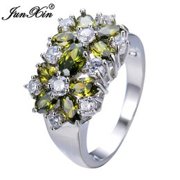 Wholesale vintage peridot jewelry - JUNXIN Unique Design Peridot Rings For Men And Women White Gold Filled Wedding Jewelry Vintage Rings For Party