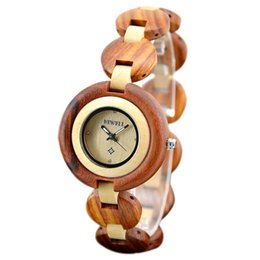 Wholesale Small Wood Clock - vintage elegant female Sandalwood wrist watch mother gift fully wooden bracelet bangle watches for women simple wood clock small round dial