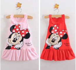 Wholesale Baby Pink Minnie Tutu Dress - Lovely Kids Baby Girls Minnie Mouse Dress Girls Sleeveless Summer Dresses Cartoon Child Clothes Pink Red