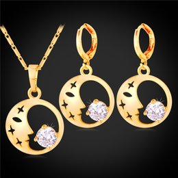 Wholesale Moon Star Earring - U7 Moon And Stars Cubic Zirconia Necklace Earrings Set for Women 18K Real Gold Platinum Plated Fashion Jewelry Set Perfect Gift