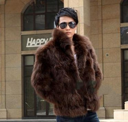 Wholesale Brown Fox Fur Collar - Fall-Mens Faux Fox Fur Coat Cute Brand Elegant Men Waterproof Faux Fur Coat Turn-down Collar Casual Outerwear Solid Color D298