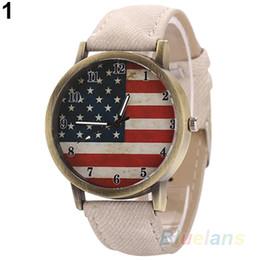 Unisex mujer hombres Vintage Estados Unidos Bandera Bronce Denim Band Cuarzo Reloj Analógico 1VJJ desde fabricantes