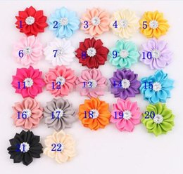 Wholesale Linen Fabric Wholesalers - Fabric Flower For Headbands Crystal Shank Satin Flowers DIY Hair Accessories 50PCS LOT Free Shipping BY0000