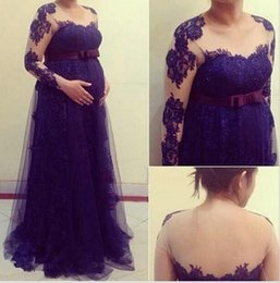 Wholesale Purple Evening Dresses For Pregnant - Lace Prom Dresses For Pregnant Women 2015 New Crew Empire Sheer Illusion Long Sleeves Maternity Formal Evening Dresses Evening Gowns BO6577