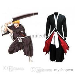 Wholesale Ichigo Kurosaki Bankai Costume - Wholesale-Manga Amime Bleach Costume Kurosaki Ichigo Bankai Unisex Cosplay Set ( Cloak, Plants Belts ) for Halloween  Party