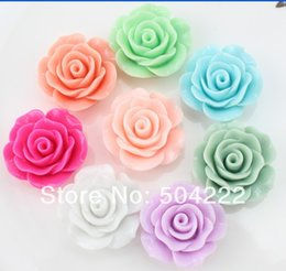 Wholesale hair bow resin flatback - 80pcs large Flatback Resin plished rose flower assorted Cabs 28mm DIY, scrapbook, hair bow cell phone