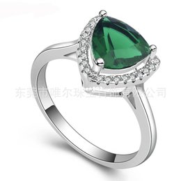 Wholesale Ring Spots - WARE jewelry factory wholesale spot AAA Micro Pave CZ Ring Triangle green gemstone rings can be customized