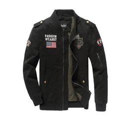 Wholesale Outerwear Usa - Men Military Army jackets USA Air Force One Hot cost outerwear embroidery mens jacket for aeronautica militare Send EMS
