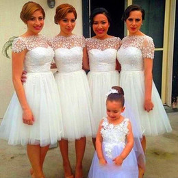 Wholesale Strapless Sweetheart Short Bridesmaids Dress - Cheap Beach Maid of Honor Dresses 2015 New White Junior Bridesmaid Dresses Crew Lace Cap Short Sleeve A Line Knee Length Short Party Dresses