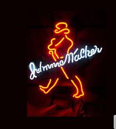 "Wholesale Johnnie Neon Signs - Big Johnnie Walker Distillery Real Glass Tube Neon Sign Home Decoration Beer Bar Pub Disco KTV Advertisement Display Art Neon Signs 17""X14"""