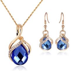Wholesale Earring Crystal Swarovski Pendant - Fashion Sapphire+Austrian Crystal hollow Statement jewelry sets 18K gold Opal Pendant Necklace Earring Set with Swarovski Elements