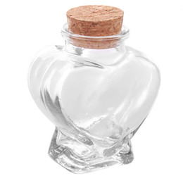 Wholesale Glass Bottle Cork Heart - Wholesale- 1pc Mini Clear Cork Stopper Heart Glass Bottles Jewelry Beads Display Vials Jars Containers Small Wishing Bottles MA120528