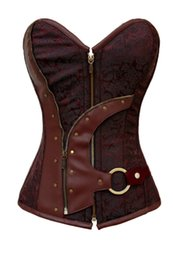 Wholesale Lingerie Brown String - Wholesale-bustiers & corsets corselet Women 2015 Brown Brocade Steampunk Corset Top With G-string plus size XXL sexy lingerie